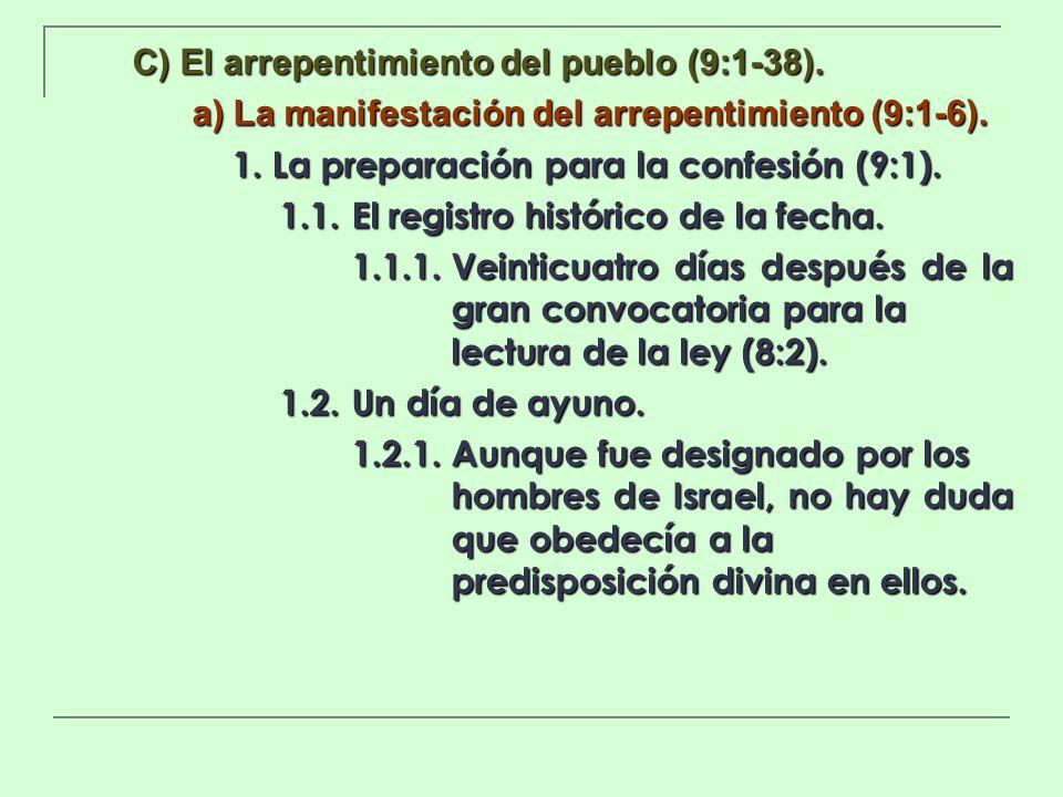C) El arrepentimiento del pueblo (9:1-38). a) La manifestación del arrepentimiento (9:1-6). 1. La preparación para la confesión (9:1). 1.1.El registro