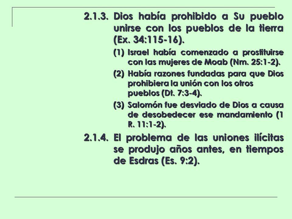 2.1.3.Dios había prohibido a Su pueblo unirse con los pueblos de la tierra (Ex. 34:115-16). (1)Israel había comenzado a prostituirse con las mujeres d