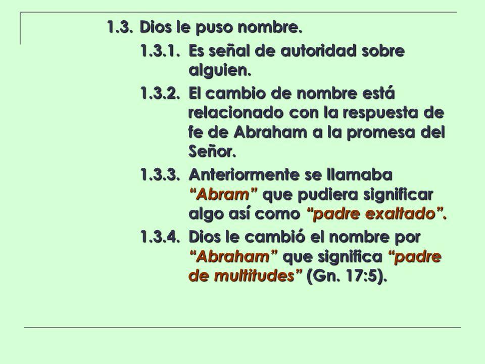 1.3.Dios le puso nombre. 1.3.1.Es señal de autoridad sobre alguien. 1.3.2.El cambio de nombre está relacionado con la respuesta de fe de Abraham a la