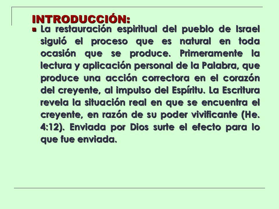 INTRODUCCIÓN: La restauración espiritual del pueblo de Israel siguió el proceso que es natural en toda ocasión que se produce. Primeramente la lectura