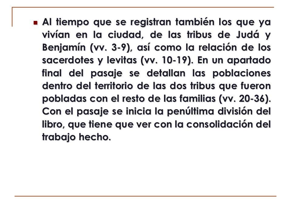 V.LA CONSOLIDACIÓN DEL TRABAJO (11:1-12:47).A) Repoblación de las ciudades (11:1-36).