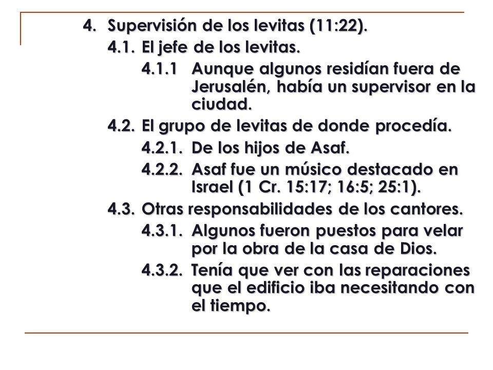 5.Provisiones para los levitas (11:23).