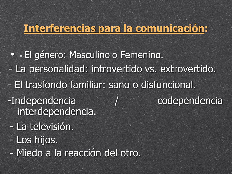 Interferencias para la comunicación: - El género: Masculino o Femenino. - La personalidad: introvertido vs. extrovertido. - El trasfondo familiar: san
