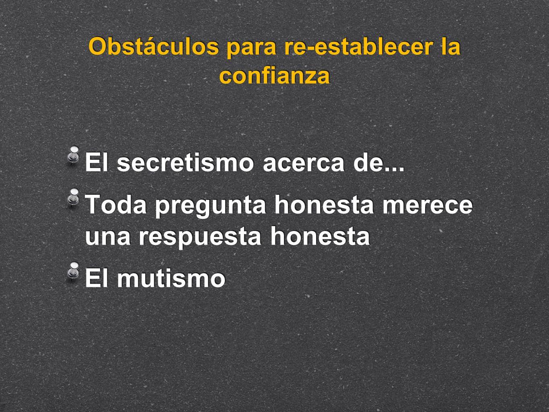 Obstáculos para re-establecer la confianza El secretismo acerca de... Toda pregunta honesta merece una respuesta honesta El mutismo El secretismo acer