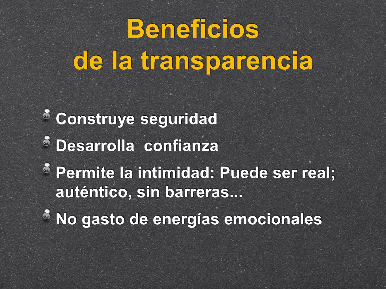 Beneficios de la transparencia Construye seguridad Desarrolla confianza Permite la intimidad: Puede ser real; auténtico, sin barreras... No gasto de e