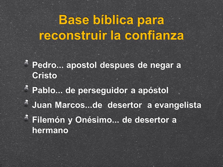 Base bíblica para reconstruir la confianza Pedro... apostol despues de negar a Cristo Pablo... de perseguidor a apóstol Juan Marcos...de desertor a ev