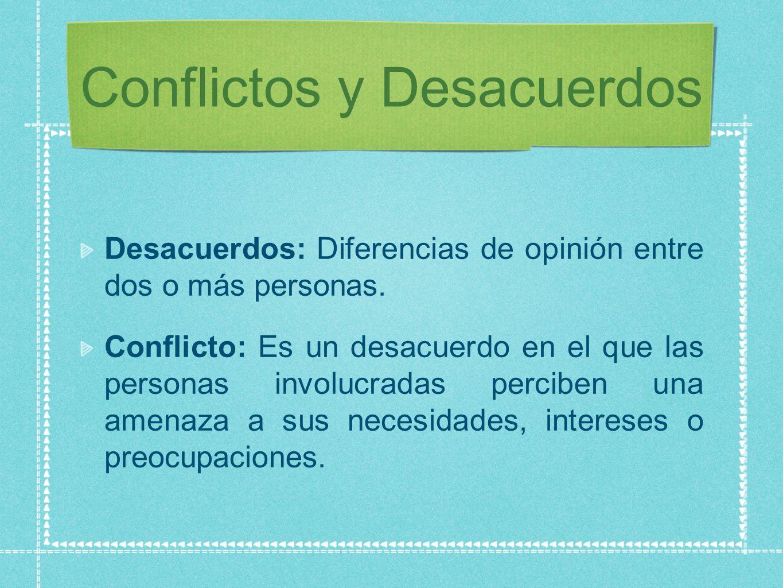 Conflictos y Desacuerdos Desacuerdos: Diferencias de opinión entre dos o más personas.