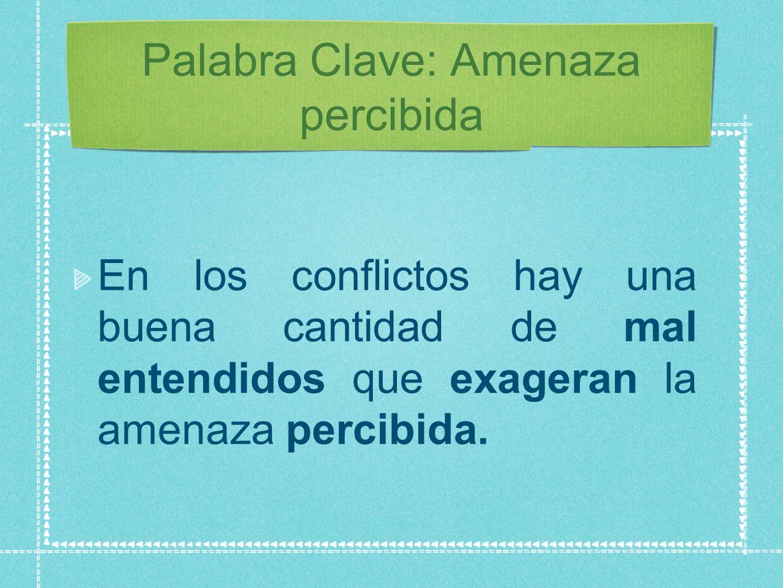 Palabra Clave: Amenaza percibida En los conflictos hay una buena cantidad de mal entendidos que exageran la amenaza percibida.
