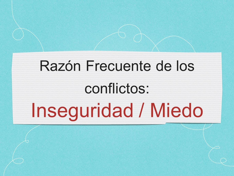 Razón Frecuente de los conflictos: Inseguridad / Miedo
