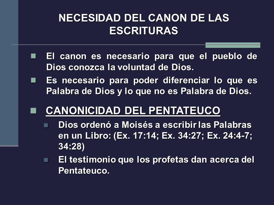 El canon es necesario para que el pueblo de Dios conozca la voluntad de Dios. El canon es necesario para que el pueblo de Dios conozca la voluntad de