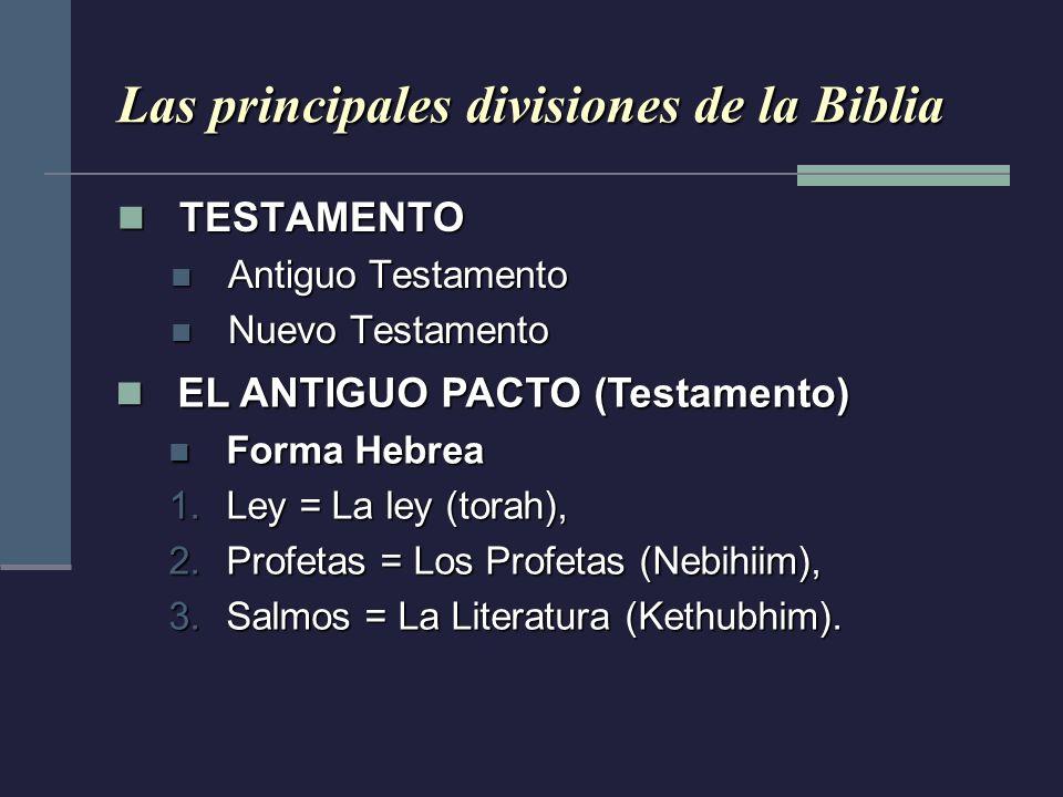 Las principales divisiones de la Biblia TESTAMENTO TESTAMENTO Antiguo Testamento Antiguo Testamento Nuevo Testamento Nuevo Testamento EL ANTIGUO PACTO