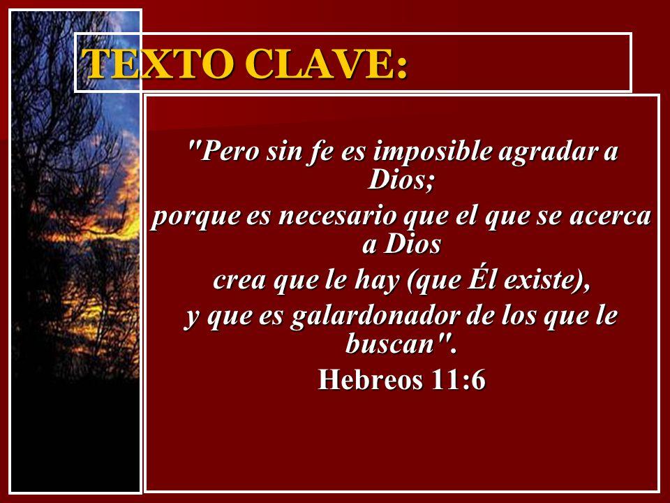 TEXTO CLAVE: Pero sin fe es imposible agradar a Dios; porque es necesario que el que se acerca a Dios crea que le hay (que Él existe), y que es galardonador de los que le buscan .