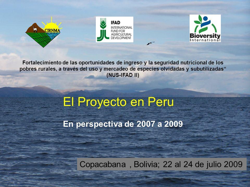 El Proyecto en Peru En perspectiva de 2007 a 2009 Copacabana, Bolivia; 22 al 24 de julio 2009 Fortalecimiento de las oportunidades de ingreso y la seguridad nutricional de los pobres rurales, a través del uso y mercadeo de especies olvidadas y subutilizadas (NUS-IFAD II)