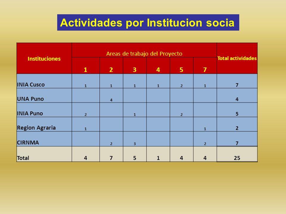 Instituciones Areas de trabajo del Proyecto Total actividades 123457 INIA Cusco 111121 7 UNA Puno 4 4 INIA Puno 2 1 2 5 Region Agraria 1 1 2 CIRNMA 23 2 7 Total47514425 Actividades por Institucion socia