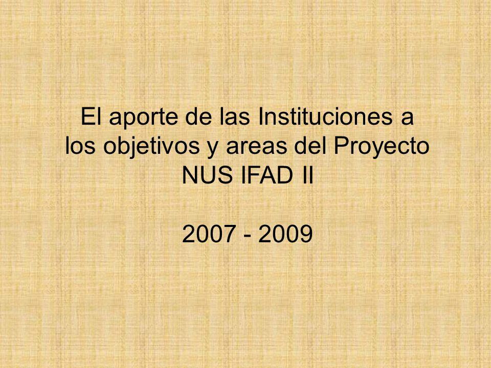 El aporte de las Instituciones a los objetivos y areas del Proyecto NUS IFAD II 2007 - 2009