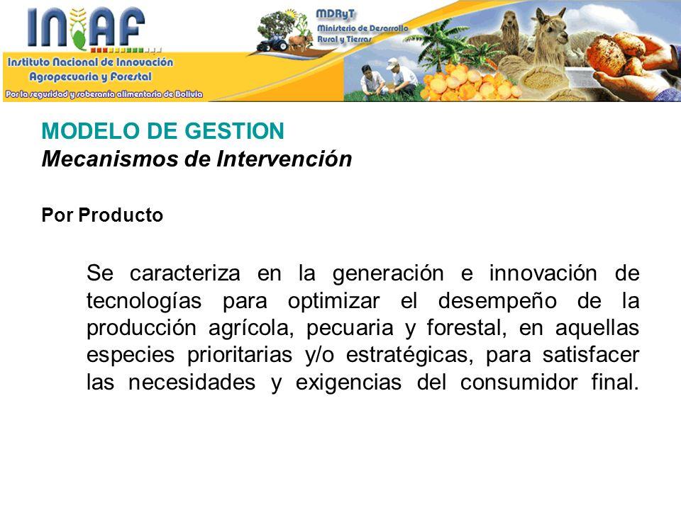 MODELO DE GESTION Mecanismos de Intervención Por Producto Se caracteriza en la generación e innovación de tecnologías para optimizar el desempeño de l