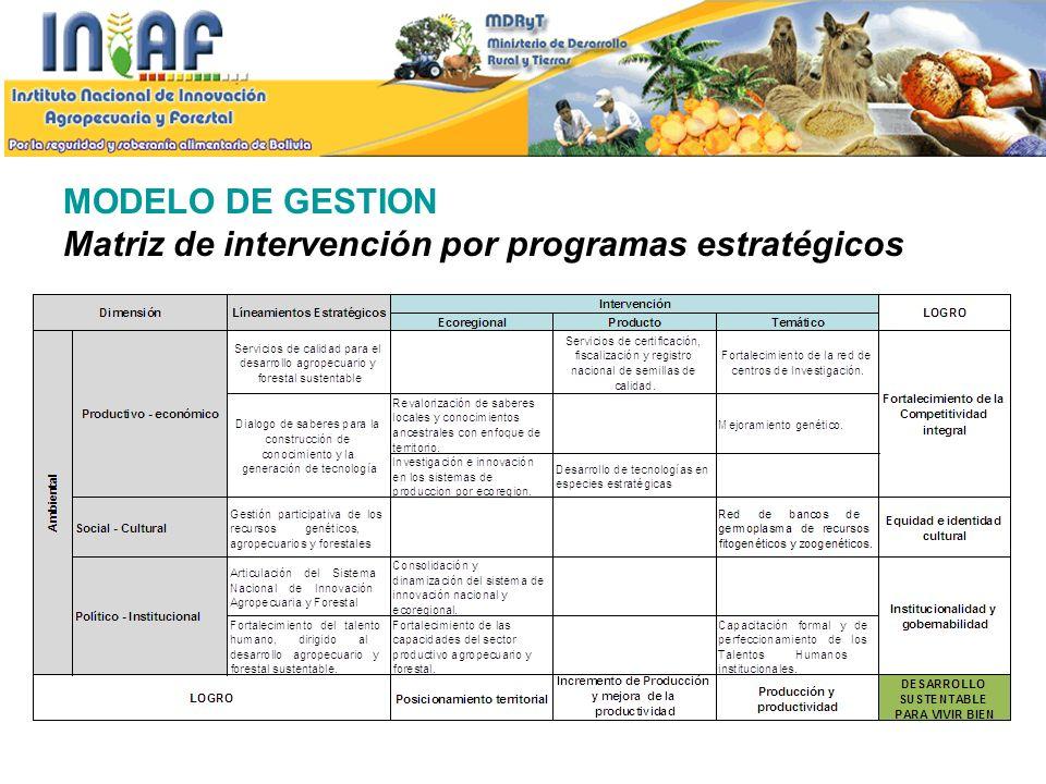 MODELO DE GESTION Matriz de intervención por programas estratégicos