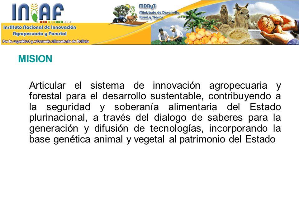 VISION El Instituto Nacional de Innovación Agropecuaria y Forestal (INIAF), se consolida como la Institución de referencia, nacional e internacional, generadora y articuladora de conocimientos e innovación agrícola, pecuaria y forestal apropiadas al desarrollo rural sustentable y a la seguridad y soberanía alimentaria del país, liderando el Sistema de Innovación Agropecuaria y Forestal.