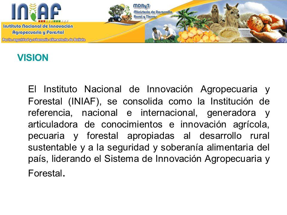 VISION El Instituto Nacional de Innovación Agropecuaria y Forestal (INIAF), se consolida como la Institución de referencia, nacional e internacional,