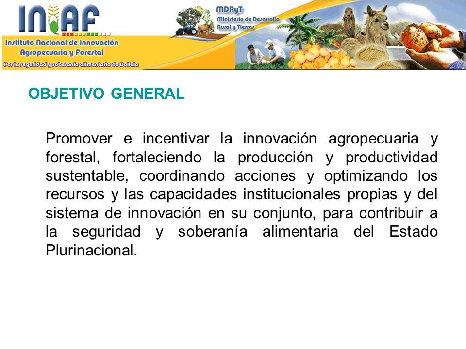 OBJETIVOS ESPECIFICOS Generar, promover y aplicar, con enfoque integral y sustentable, la investigación y desarrollo tecnológico, revalorizando los saberes locales y conocimientos ancestrales, así como la gestión del patrimonio genético agropecuario y forestal para la innovación tecnológica.