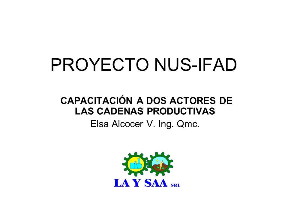 PROYECTO NUS-IFAD CAPACITACIÓN A DOS ACTORES DE LAS CADENAS PRODUCTIVAS Elsa Alcocer V. Ing. Qmc.