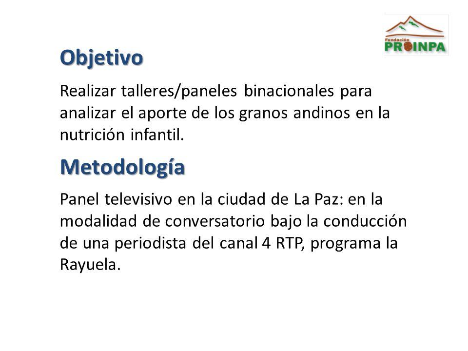 Objetivo Realizar talleres/paneles binacionales para analizar el aporte de los granos andinos en la nutrición infantil.