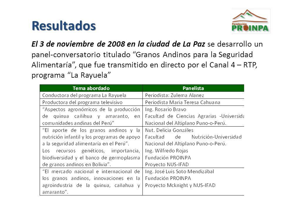 Resultados El 3 de noviembre de 2008 en la ciudad de La Paz se desarrollo un panel-conversatorio titulado Granos Andinos para la Seguridad Alimentaría, que fue transmitido en directo por el Canal 4 – RTP, programa La Rayuela