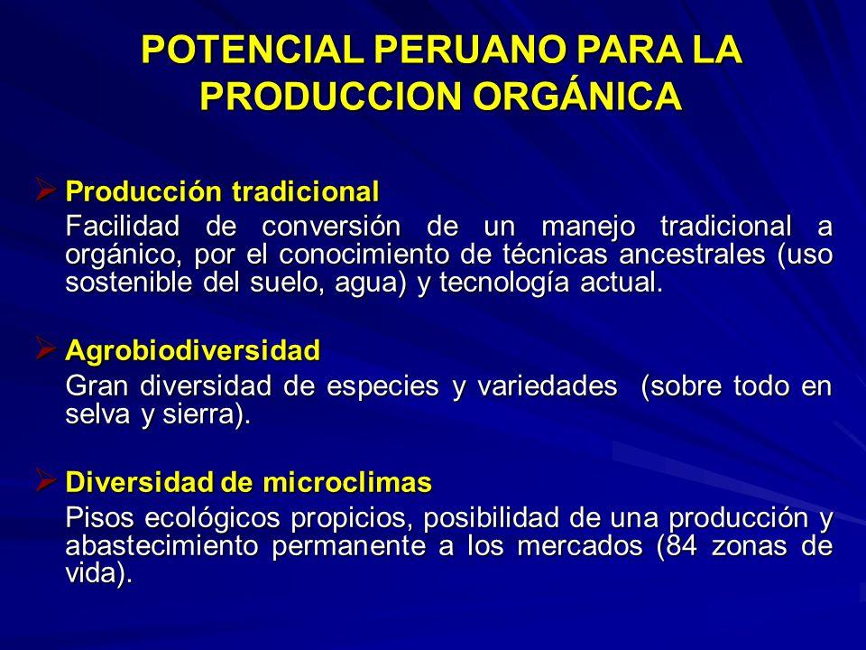 POTENCIAL PERUANO PARA LA PRODUCCION ORGÁNICA Producción tradicional Producción tradicional Facilidad de conversión de un manejo tradicional a orgánic