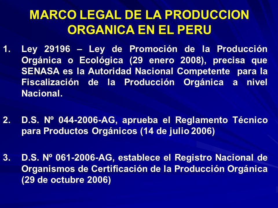 1.Ley 29196 – Ley de Promoción de la Producción Orgánica o Ecológica (29 enero 2008), precisa que SENASA es la Autoridad Nacional Competente para la F