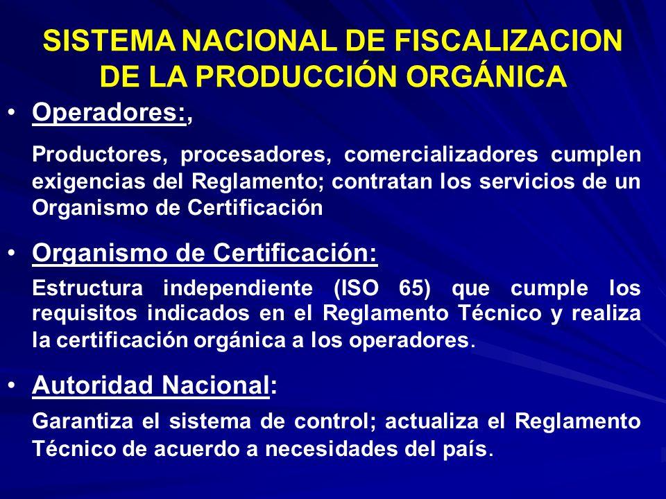 Operadores:, Productores, procesadores, comercializadores cumplen exigencias del Reglamento; contratan los servicios de un Organismo de Certificación