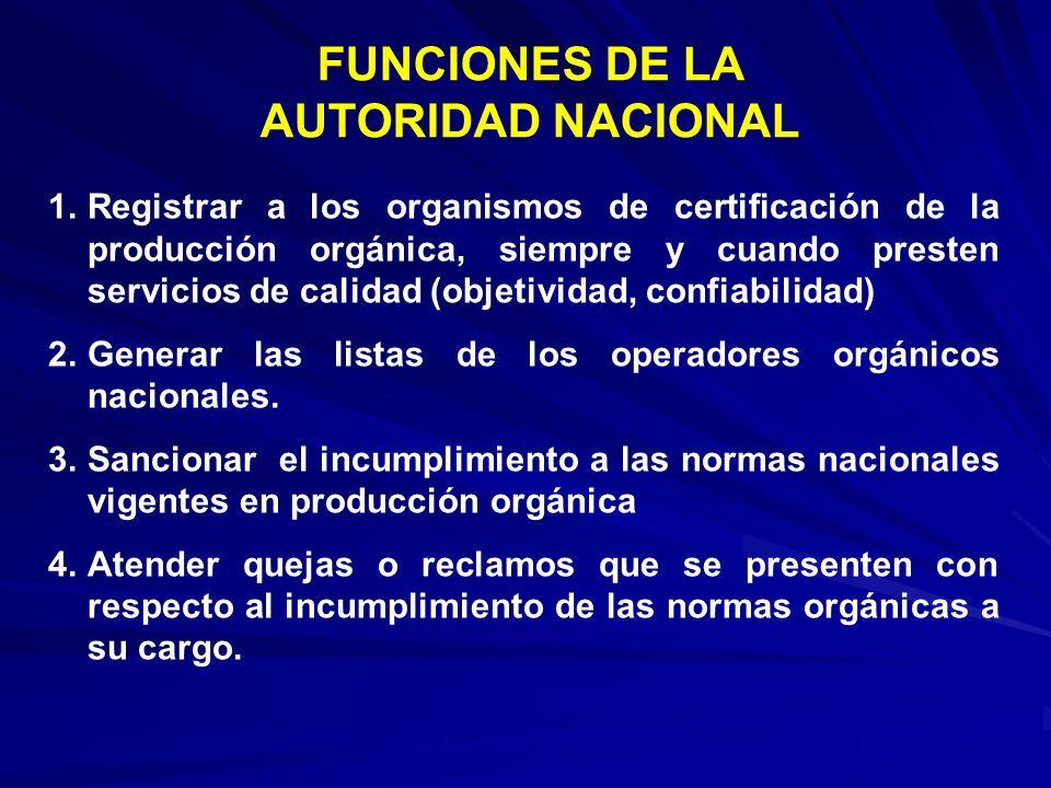 1.Registrar a los organismos de certificación de la producción orgánica, siempre y cuando presten servicios de calidad (objetividad, confiabilidad) 2.