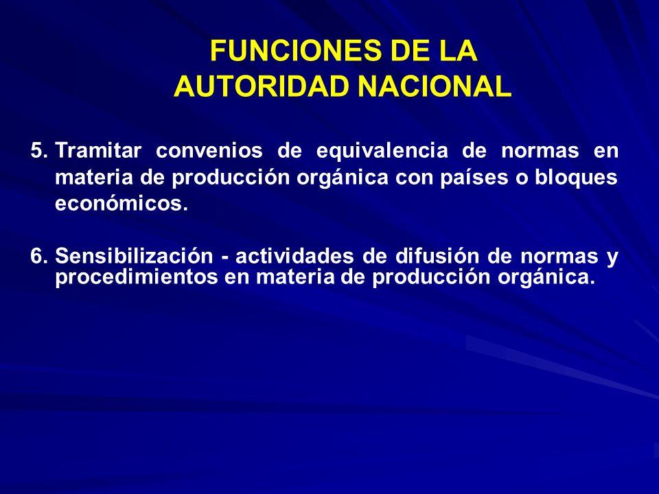 5.Tramitar convenios de equivalencia de normas en materia de producción orgánica con países o bloques económicos. 6.Sensibilización - actividades de d