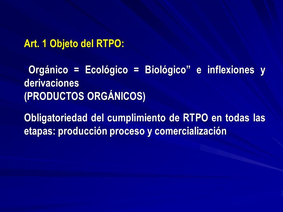 Art. 1 Objeto del RTPO: Orgánico = Ecológico = Biológico e inflexiones y derivacionesOrgánico = Ecológico = Biológico e inflexiones y derivaciones (PR