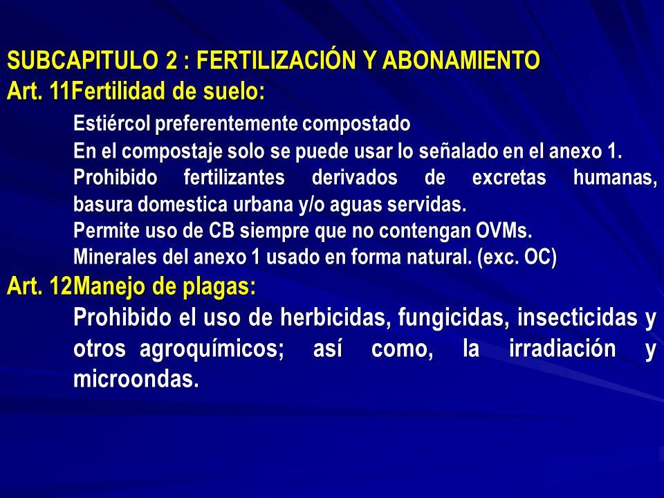 SUBCAPITULO 2 : FERTILIZACIÓN Y ABONAMIENTO Art. 11Fertilidad de suelo: Estiércol preferentemente compostado En el compostaje solo se puede usar lo se