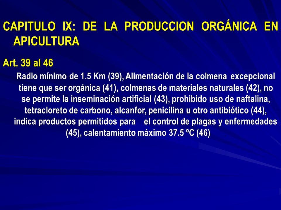 CAPITULO IX: DE LA PRODUCCION ORGÁNICA EN APICULTURA Art. 39 al 46 Radio mínimo de 1.5 Km (39), Alimentación de la colmena excepcional tiene que ser o