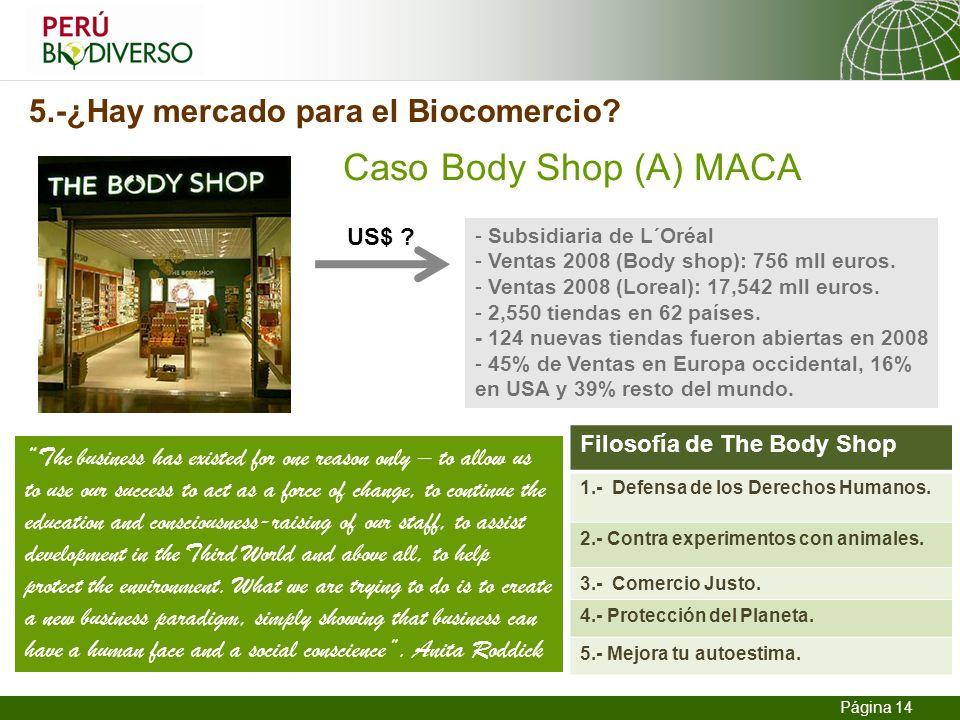 13.02.2014 Seite 14 Página 14 5.-¿Hay mercado para el Biocomercio? Caso Body Shop (A) MACA - Subsidiaria de L´Oréal - Ventas 2008 (Body shop): 756 mll