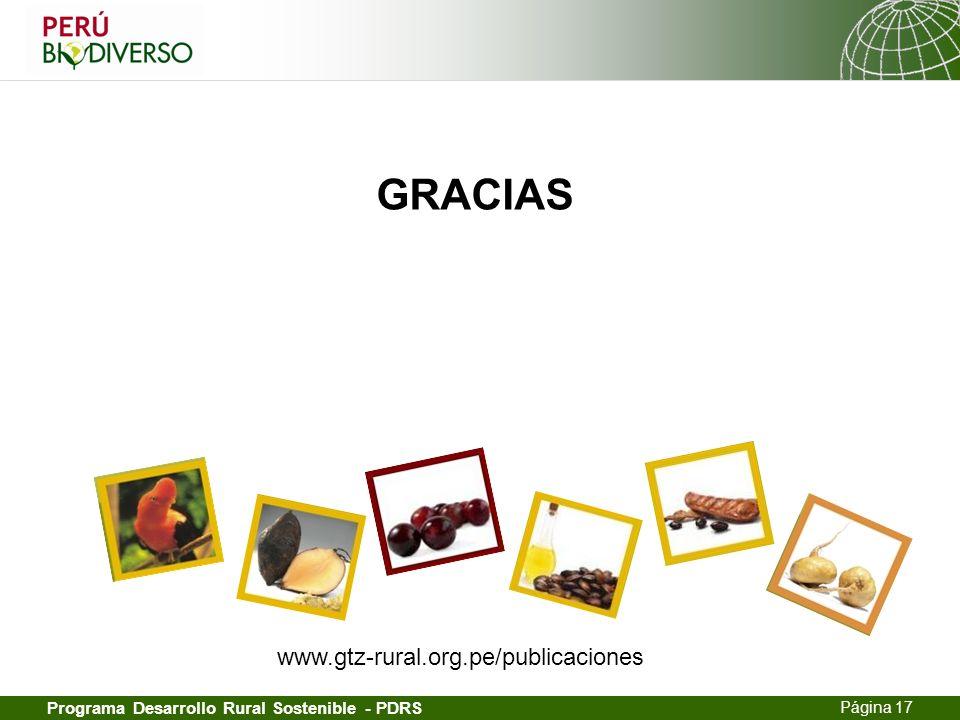 13.02.2014 Seite 17 Página 17 Programa Desarrollo Rural Sostenible - PDRS GRACIAS www.gtz-rural.org.pe/publicaciones