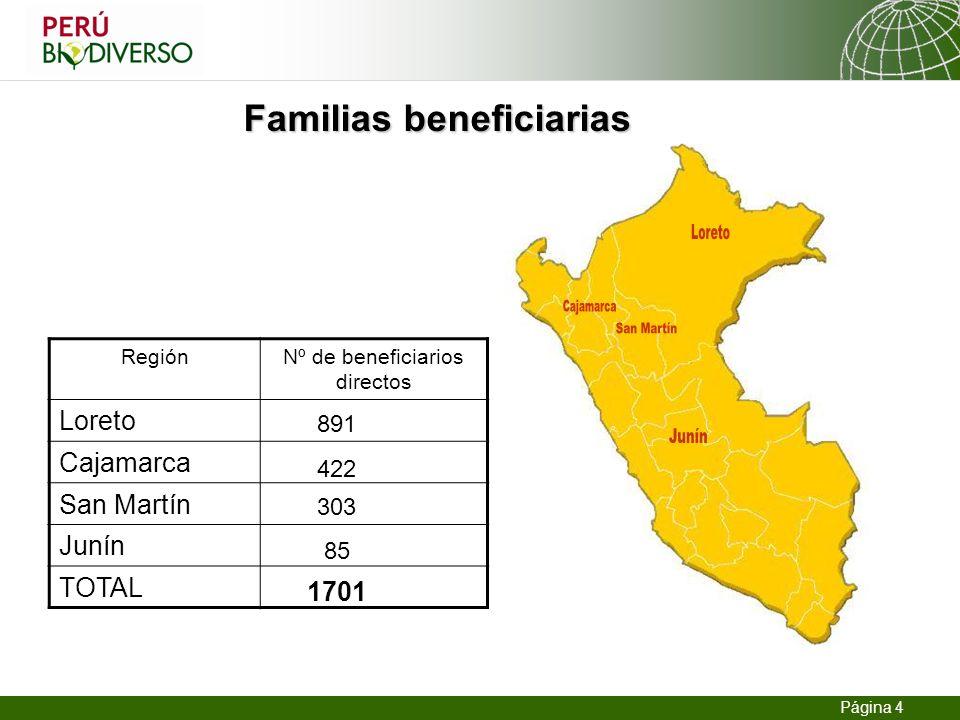 13.02.2014 Seite 4 Página 4 Familias beneficiarias RegiónNº de beneficiarios directos Loreto Cajamarca San Martín Junín TOTAL 891 422 303 85 1701