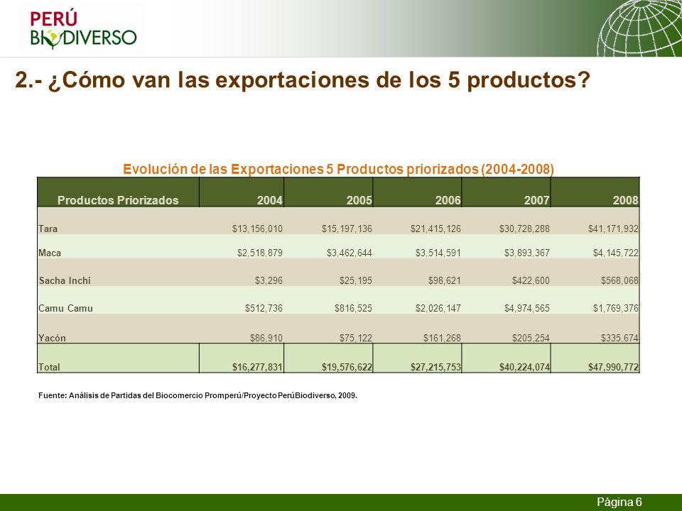 13.02.2014 Seite 6 Página 6 2.- ¿Cómo van las exportaciones de los 5 productos? Evolución de las Exportaciones 5 Productos priorizados (2004-2008) Pro