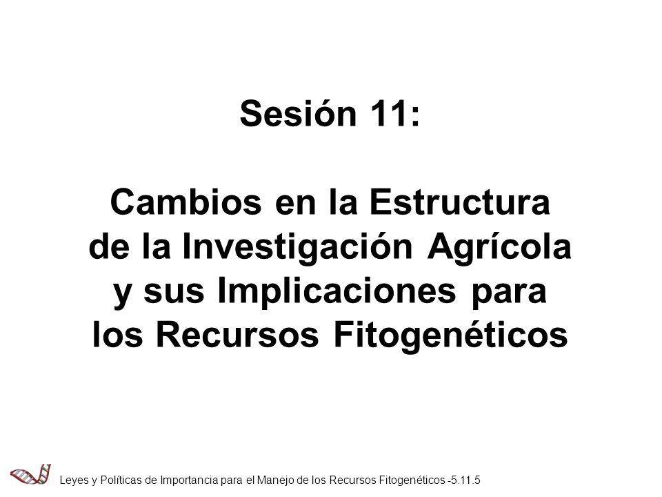 Sesión 11: Cambios en la Estructura de la Investigación Agrícola y sus Implicaciones para los Recursos Fitogenéticos Leyes y Políticas de Importancia para el Manejo de los Recursos Fitogenéticos -5.11.5