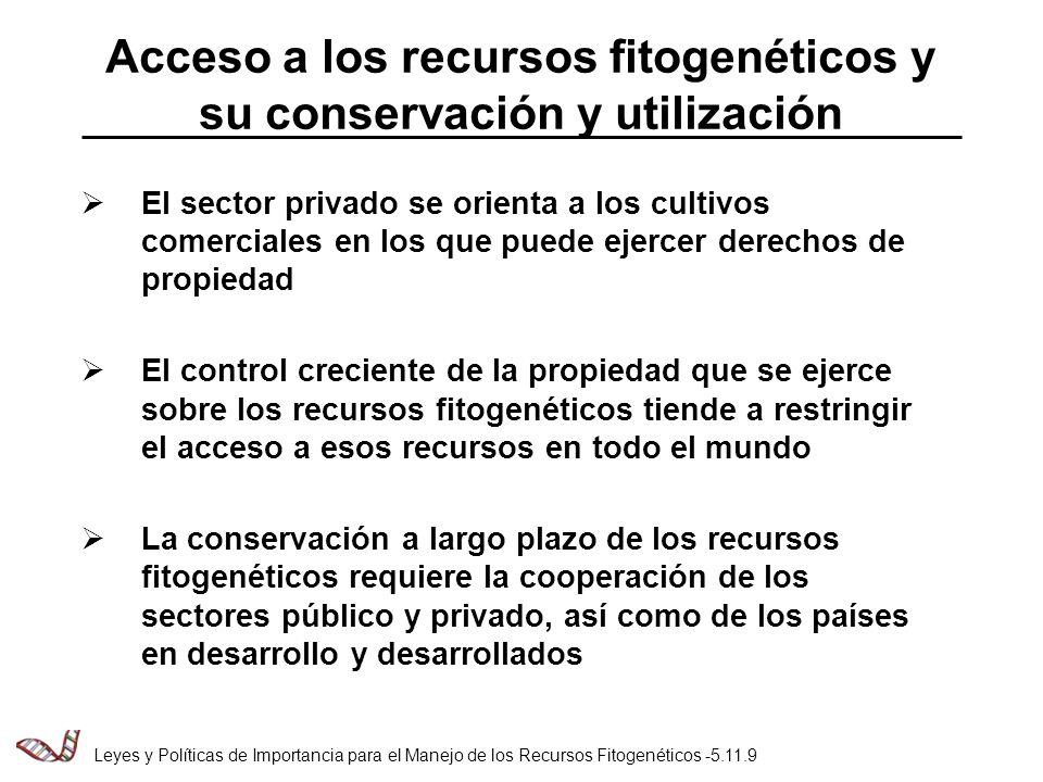 Acceso a los recursos fitogenéticos y su conservación y utilización El sector privado se orienta a los cultivos comerciales en los que puede ejercer derechos de propiedad El control creciente de la propiedad que se ejerce sobre los recursos fitogenéticos tiende a restringir el acceso a esos recursos en todo el mundo La conservación a largo plazo de los recursos fitogenéticos requiere la cooperación de los sectores público y privado, así como de los países en desarrollo y desarrollados Leyes y Políticas de Importancia para el Manejo de los Recursos Fitogenéticos -5.11.9