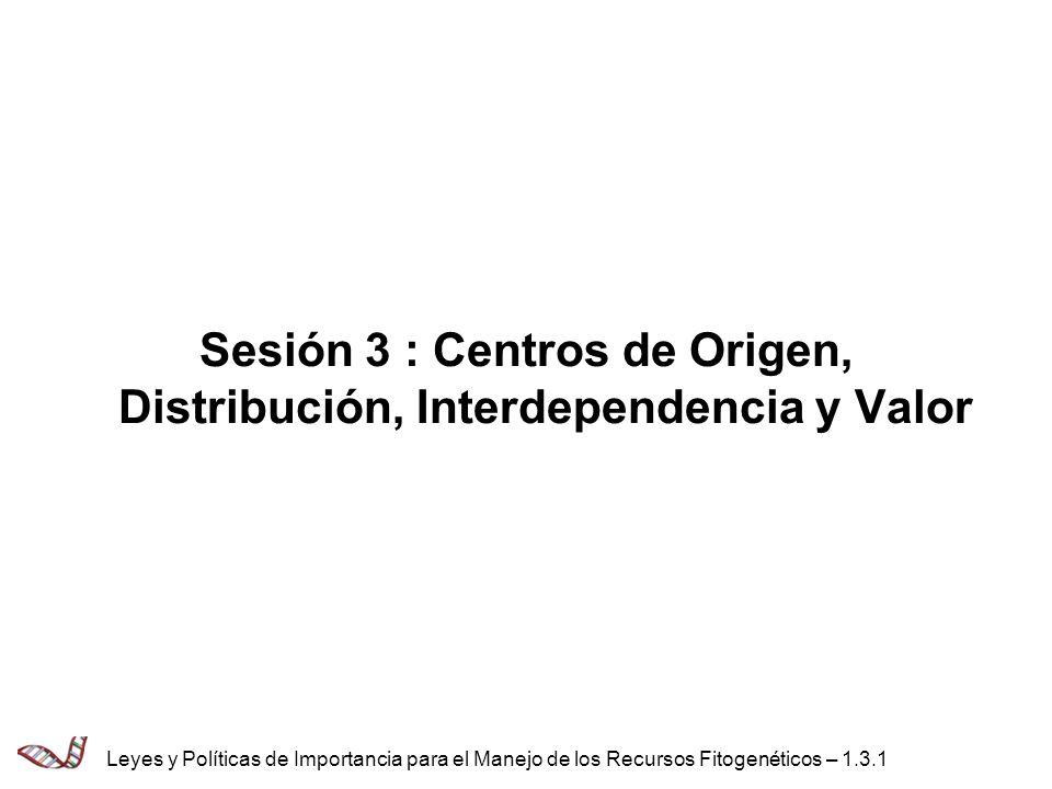 Objetivo de la Sesión 3 Evaluar las implicaciones del origen y el movimiento de los RFGAA en el desarrollo de políticas adecuadas Leyes y Políticas de Importancia para el Manejo de los Recursos Fitogenéticos – 1.3.2