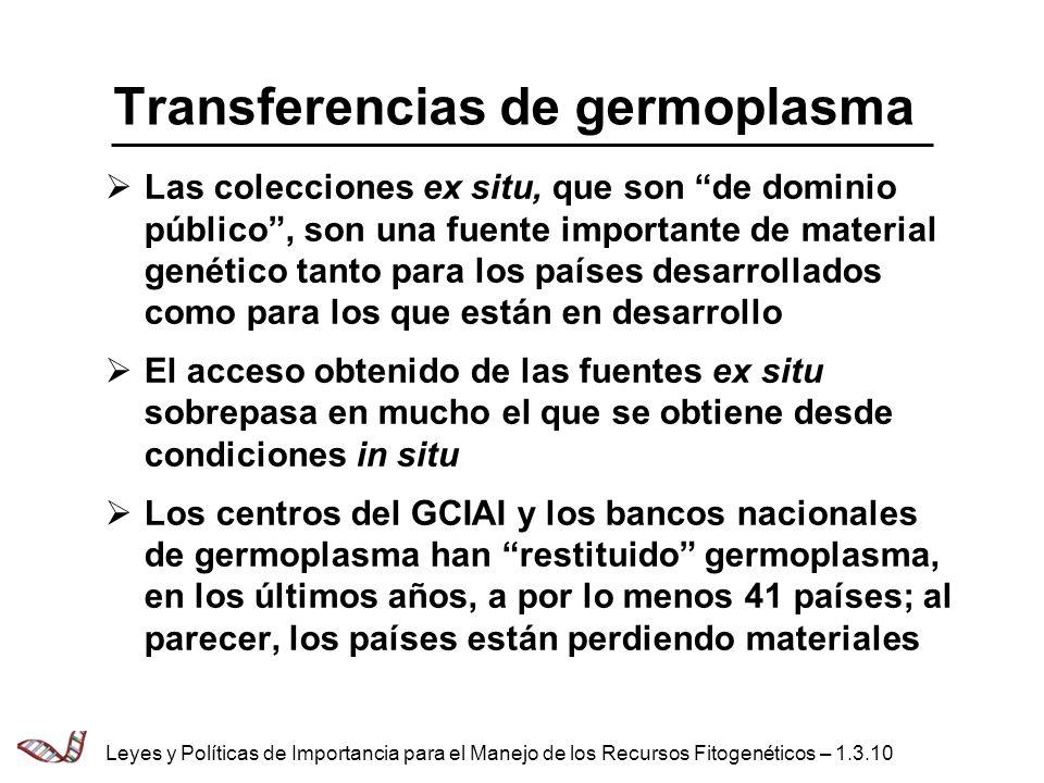 Transferencias de germoplasma Las colecciones ex situ, que son de dominio público, son una fuente importante de material genético tanto para los paíse