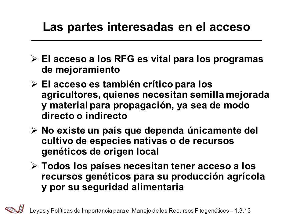 Las partes interesadas en el acceso El acceso a los RFG es vital para los programas de mejoramiento El acceso es también crítico para los agricultores