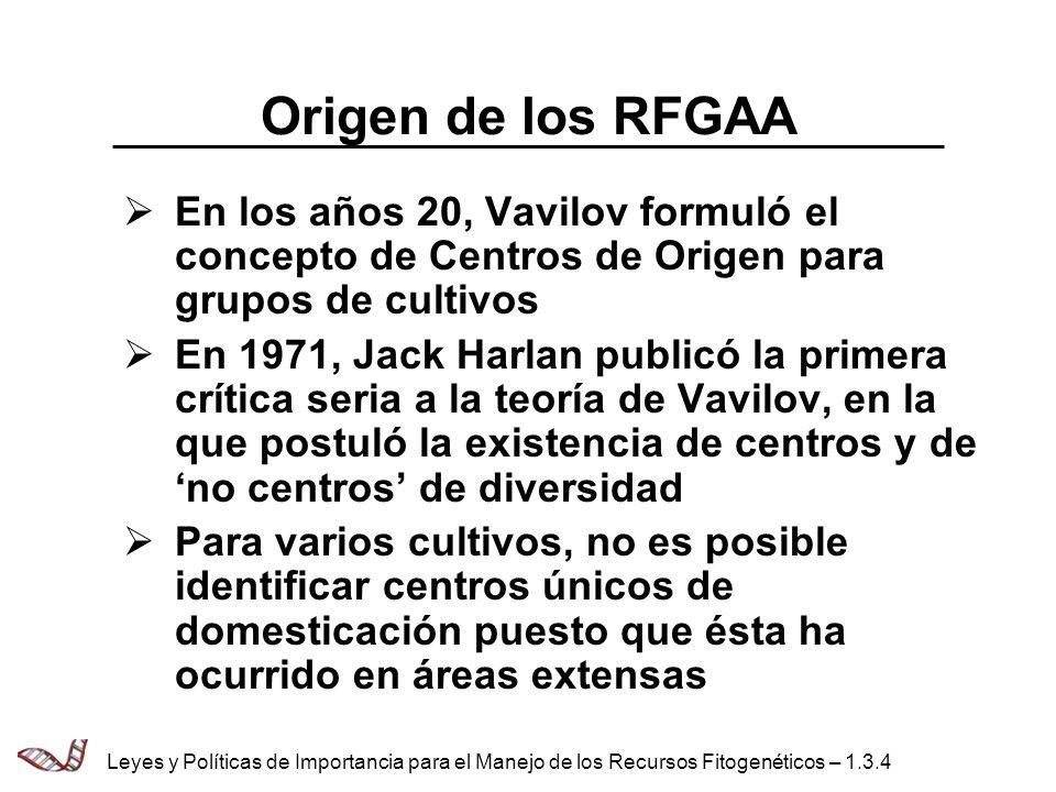 Origen de los RFGAA En los años 20, Vavilov formuló el concepto de Centros de Origen para grupos de cultivos En 1971, Jack Harlan publicó la primera c