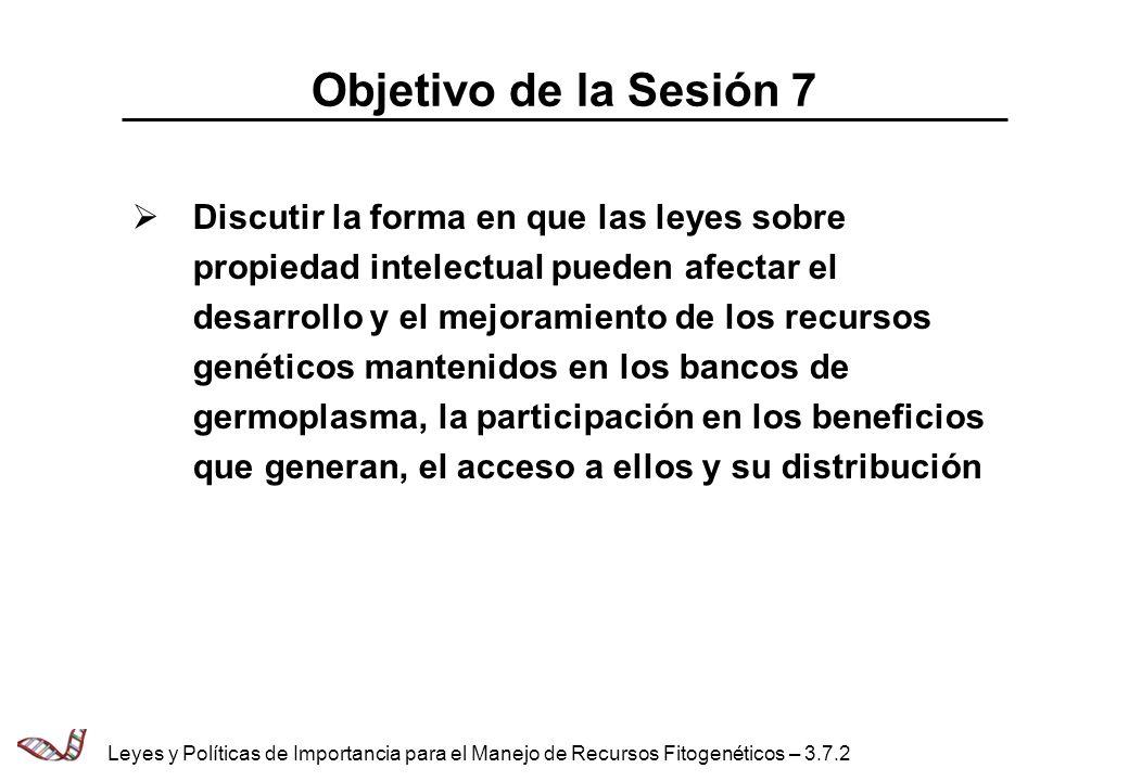 Objetivo de la Sesión 7 Discutir la forma en que las leyes sobre propiedad intelectual pueden afectar el desarrollo y el mejoramiento de los recursos genéticos mantenidos en los bancos de germoplasma, la participación en los beneficios que generan, el acceso a ellos y su distribución Leyes y Políticas de Importancia para el Manejo de Recursos Fitogenéticos – 3.7.2