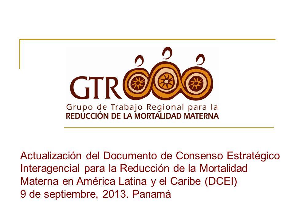 Actualización del Documento de Consenso Estratégico Interagencial para la Reducción de la Mortalidad Materna en América Latina y el Caribe (DCEI) 9 de