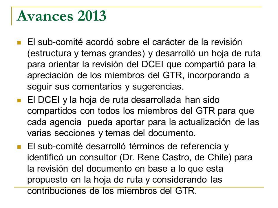 Avances 2013 El sub-comité acordó sobre el carácter de la revisión (estructura y temas grandes) y desarrolló un hoja de ruta para orientar la revisión