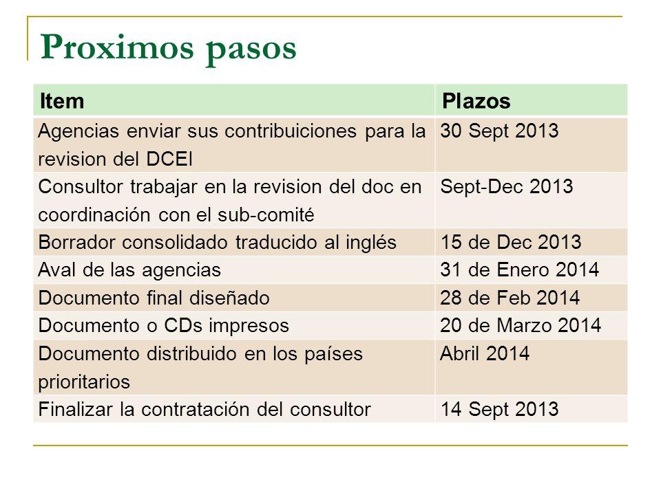 Proximos pasos ItemPlazos Agencias enviar sus contribuiciones para la revision del DCEI 30 Sept 2013 Consultor trabajar en la revision del doc en coor