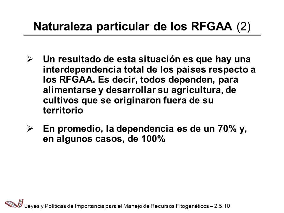 Naturaleza particular de los RFGAA (2) Un resultado de esta situación es que hay una interdependencia total de los países respecto a los RFGAA. Es dec